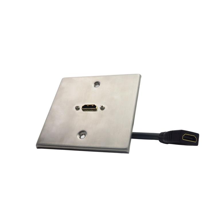 网络类型:Networking Wall Plate  产品描述:HDMI欧规 不锈钢面板 EU Wall Plate  产品用途:Home Theater Wall Plate(EU)  接口类型:1*HDMI/F 12cm CABLE,Female to Female,Gold Plated  材质:ABS阻燃材料  颜色:白色  产品特点:可以满足综合布线系统设计要求的高速,高性能,耐高温以及即插即用型的信息插座。                  采用优质工程塑料,阻燃抗压的ABS胶料。                  面板外观以线条状设计,整体流畅,棱角清晰。                 支持分辨率1080P高清设备。